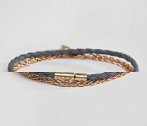 Armbänder mit Flecht- und Kettendesign in Schwarz und Silber 2er-Pack