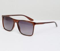 Eckige Sonnenbrille in Braun