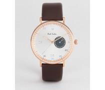 PS 0060005 Gauge - Armbanduhr aus braunem Leder 41 mm