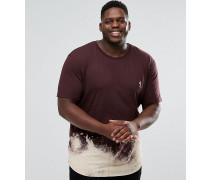 PLUS - Lang geschnittenes T-Shirt mit gebleichtem Bogensaum