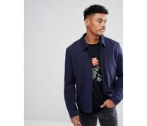 Marineblaue Hemdjacke aus Jersey