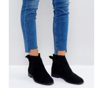 London - Aretha - Flache Ankle-Boots aus schwarzem Wildleder mit geschnürter Rückseite