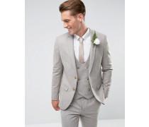 Enge Anzugsjacke aus Wolle in Farbe Stone