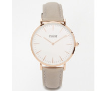 CL18015 La Boheme rose gold and grey leather watch