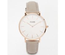 La Boheme -Roségoldene Uhr mit grauem Lederarmband CL18015