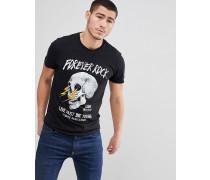 "T-Shirt mit ""Forever Rock""-Totenkopf-Print"