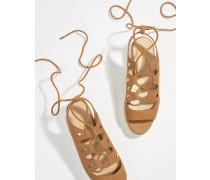 Espadrilles-Sandalen aus Wildleder mit Plateausohle und Schnürung
