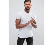 Weißes T-Shirt mit Reißverschlüssen an den Seiten