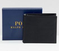 Klassische Brieftasche aus schwarzem Leder mit Polospieler-Logo