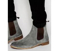 Chelsea-Stiefel aus grauem Wildleder breite Passform erhältlich