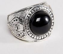 Siegelring aus poliertem Silber mit schwarzem Onyx