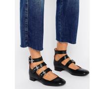 Mehrfarbige eckige Schuhe mit Schnallen