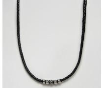 Halskette aus schwarzem Leder