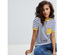 ASOS DESIGN Tall - Gestreiftes T-Shirt mit Kontrasttasche