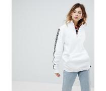 Pullover in Weiß mit halblangem Reißverschluss