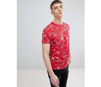 T-Shirt In Reverse Print In Red