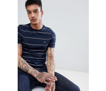 Schmales gestreiftes T-Shirt in Marineblau mit gesticktem Logo in Space-Dye-Optik