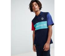 Marineblaues Polohemd mit Blockfarbendesign