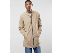 Lange Jacke mit durchgehendem Reißverschluss