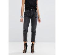 Awesome Baggies - Jeans mit hohem Bund Rissen und Fransensaum