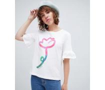 PS by Paul Smith - T-Shirt mit Blumenaquarell- und Rüschendetail