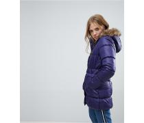 Wattierter Mantel mit Kunstfellbesatz und Gürtel