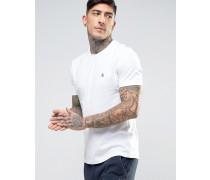 Schmales weißes T-Shirt mit kleinem Logo