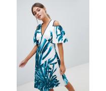 Closet - Kleid in A-Linie mit tropischem Muster