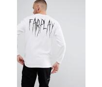 Langärmliges T-Shirt mit Print am Rücken in Weiß