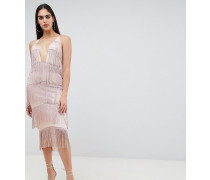Figurbetontes Kleid mit tiefem geradem Ausschnitt und Fransen