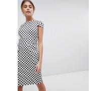 Kurzärmliges hinten gebundenes Kleid mit Punktemuster