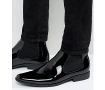 Chelsea-Stiefel in schwarzer Lackoptik