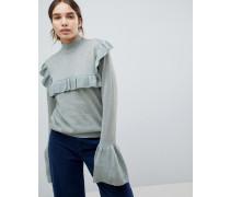 Hochgeschlossener Pullover mit Rüschen