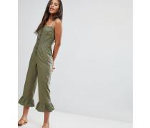 ASOS DESIGN Tall - Baumwoll-Jumpsuit mit eckigem Ausschnitt Knöpfen und Rüschensaum