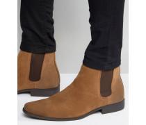 Chelsea-Stiefel aus braunem Wildleder-Imitat