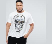 PLUSes T-Shirt mit Vogel-Totenkopf-Motiv