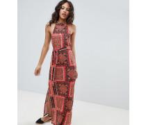 ASOS DESIGN Tall - Maxi-Sommerkleid mit Schalmuster und Gürtel