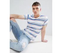 Mehrfarbig gestreiftes T-Shirt mit Noppenstruktur