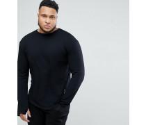 PLUS - Langärmliges schwarzes T-Shirt mit abgerundetem Saum