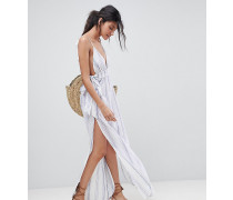 Maxi-Strandkleid mit Streifen in Naturfarbe