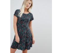 Swing-Kleid mit geschnürter Rückseite und Blümchenprint