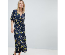 Exklusives Jersey-Kleid im Wickeldesign mit Streublumenmuster