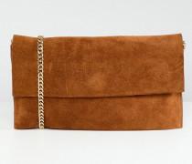 Leah - Weiche Wildleder-Handtasche mit Kettentrageriemen