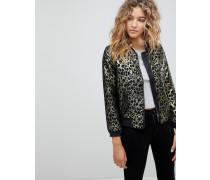 Bomberjacke mit Leopardenprint in Gold
