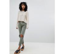 Freebirds - Enge Jeans mit hohem Bund betonter Kniepartie und unbearbeitetem Saum