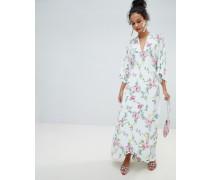 Geblümtes Maxikleid mit Kimono-Ärmeln und Schnürung hinten