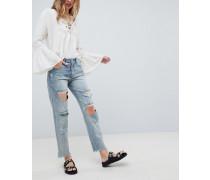 Awesome Baggies - Gerade geschnittene Jeans mit hohem Bund und Zierrissen