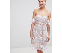 Schulterfreies besticktes Kleid