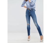 Maria - Enge Jeans mit hoher Taille mit zerrissenem Knie und Saum