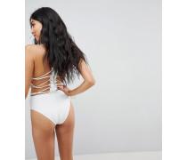 Hochwertiger Badeanzug aus Spitze mit Trägern hinten und Applikationen